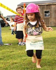Each kid got their own hat (yellow for boys and pink for girls.) they also got their own tool belt that they wore in the tool relay race.