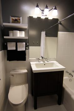 Floating Shelves above toilet for toilet paper, hand towels.