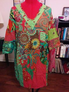 BUY IT NOW! NEW Asian Inspired Patchwork Dress w/ Pockets One Size Cotton & Flax  #Unbranded #Shift