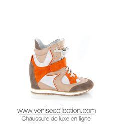 """BASKET COMPENSÉE VENISE COLLECTION """"MARTA"""" Basket Marta montante en cuir et daim multicolore sur un talon compensé de 8cm. Idéale pour un style à la fois sportif et élégant. Très tendance. http://www.venisecollection.com/fr/chaussures-femme-luxe/basket-de-luxe/chaussure-femme-strategia-basket-marta-4793.html"""