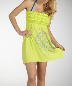 Take a look at this Lemon Tonic Ruffle Cover-Up by Marika on #zulily today!