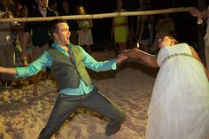 Limbo Dance, Bride, Groom, Tulum, Beach, Destination, Wedding, By: Tulum Living Weddings Photo from Cortni + Adam collection by Amber Bridges Studios