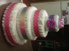 Homemade diaper cake for baby shower