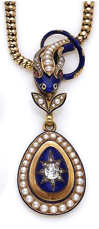 An antique enamel, diamond and pearl necklace, circa 1850 the necklace designed as a blue guilloché enamel snake accented by rose-cut diamonds, half-pearls and round cabochon rubies, suspending from its mouth a pear-shaped blue enamel, diamond and pearl pendant.
