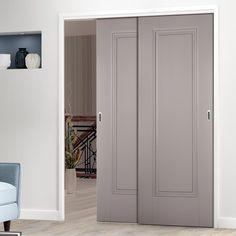 Thruslide Eindhoven 1 Panel Grey Primed 2 Sliding Doors and Frame Kit - Lifestyle Image. #painteddoors #interiordoors