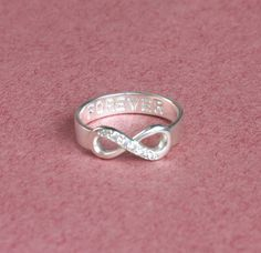 Infinity Symbol Ring With Diamond In Sterling Silver 925 (R16)