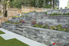 The Pisa OneStone™ is a large format engineered segmental retaining wall system that can be used for a variety of architectural styles and designs from residential to commercial. Raised Patio, Sloped Backyard, Back Patio, Garden Beds, Pisa, Granite, Terrace, Sidewalk, Landscape
