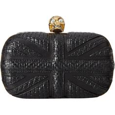 Alexander McQueen Skull Clutch w/ Chain (Black) Clutch Handbags (1'250 CHF) ❤ liked on Polyvore featuring bags, handbags, clutches, black, real leather handbags, alexander mcqueen clutches, union jack purse, chain purse and hard clutch