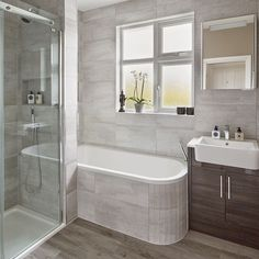 Modern Grey Bathroom Makeover With Separate Shower And Bath For Bathroom Ideas W. Modern Grey Bathroom Makeover With Separate Shower And Bath For Bathroom Ideas W. Bathroom With Shower And Bath, Gray And White Bathroom, Bathroom Bath, Shower Tub, Boho Bathroom, Bathroom Grey, Bathroom Cabinets, Shower Over Bath, Silver Bathroom