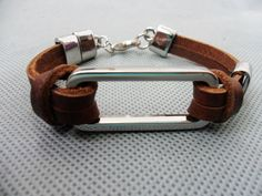 brown 2 leather and stainless steel bracelet  by sevenvsxiao, $7.50