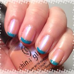 Funky French Mani/ Teal Tip