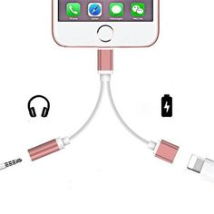 Comprar 2 in 1 for Apple Lightning Audio Converter Audio headphone jack adapter Play Music for iPhone 7 plus for iPhone 8 plus X em Cute - Compras de Beleza Iphone 8 Plus, Iphone 7, Iphone Cases, Logitech, Power Adapter, Smartphone, 1 Rose, Rose Gold, Shopping