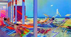 Les écrans du soleil, 1967-1968, huile sur toile, 197 x 273 cm. Par Leonardo Cremonini Leonardo, Colorful Paintings, Les Oeuvres, Outdoor Decor, Fun, Image, History Of Painting, Italian Painters, Oil On Canvas