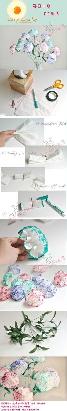 Herramientas simples, pasos simples para que enseñe a hacer un ramo de claveles de colores nunca se marchita.