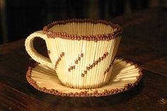 tea cup matchstick art