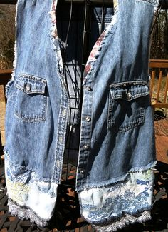 Upstyled Blue Jean Vest Size M by GreenFrills on Etsy, $45.00
