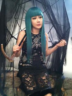 Bom with blue hair