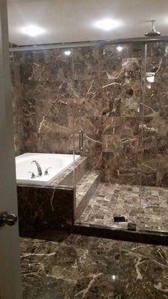 💜 Master bathroom (rain shower head and jacuzzi tub) - JudeBuxom. Jacuzzi Bathroom, Master Bathroom Shower, Jacuzzi Tub, Steam Showers Bathroom, Shower Tub, Shower Heads, Bathroom Ideas, Master Bathrooms, Dream Bathrooms