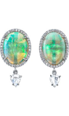 IRENE NEUWIRTH Crystal Opal & Rose Cut Diamond Drop Earrings USD: 23,000 Exclusively Ours! From the Irene Neuwirth Diamond collection, one-of-a-kind 18k white gold earrings set with 15.49ct ovular crystal opal, .85ct white pave diamond surround, and .91ct white rose cut diamond drops. Post back
