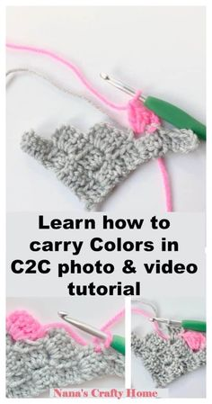 Learn how to Carry yarn colors in corner to corner crochet with this complete photo & video tutorial! Master the Corner to Corner crochet technique take your projects to the next level with these tips & tricks! Crochet C2c Pattern, C2c Crochet Blanket, Crochet Stitches Free, Afghan Crochet Patterns, Crochet Geek, Learn To Crochet, Crochet Crafts, Free Pattern, Corner To Corner Crochet Pattern
