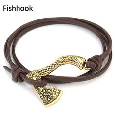 Fishhook Black/Brown Leather Bracelets for Women Axe Wolf Head Charms Nordic Viking Vegvisir Compass Bracelet Viking, Nordic Vikings, Vegvisir, Grave, Black And Brown, Brown Leather, Leather Bracelets, Black Bracelets, Charm Bracelets