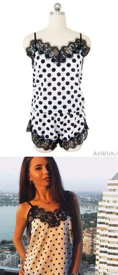 19660c801ff Sexy Fresh Polka Dot Sleepwear Shirt Women Lingerie Chiffon Suit Lace  Pajamas  dot  Lace