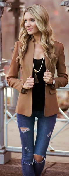 Street style | Brown blazer and denim. …