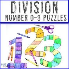 DIVISION 0-9 Puzzles - Great for Bulletin Board Numbers or Cinco de Mayo | 3rd, 4th, 5th grade, Activities, Back to School, Basic Operations, Games, Math, Math Centers