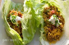 Turkey Taco Lettuce Wraps! 134 cal. for 2 tacos ....this is my favorite healthy recipe site!