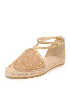 Donna Studded Espadrille Flat, Nude by Jimmy Choo at Neiman Marcus.