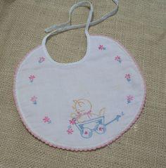 Vintage Baby Bib Embroidered Bib Pink Bib with Kitten