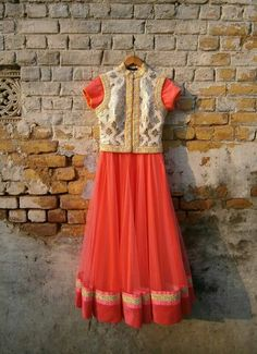 Love this coral orange dress with koti style jacket Indian Bridal Wear, Indian Wear, Pakistani Outfits, Indian Outfits, Pakistani Clothing, Lehenga Wedding, Salwar Designs, Shower Dresses, Indian Attire