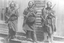 Three Indian scouts, members of Troop L., 7th Cavalry. Western History Collections, University of Oklahoma Libraries, Irwin Brothers Studio Collection, Native American Photos