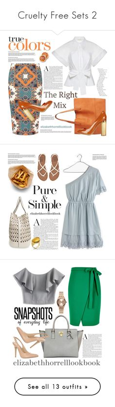 """""""Cruelty Free Sets 2"""" by elizabethhorrell ❤ liked on Polyvore featuring Delpozo, Dorothy Perkins, Sole Society, STELLA McCARTNEY, Madewell, Street Level, Pure & Simple, Billabong, Baccarat and Chicwish"""