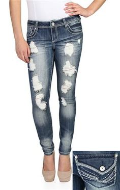 almost famous destructed skinny jean with crinkles and streaks MOMMY DONT FORGET IN A MONTH THE PRICE GOES DOWN!!(: