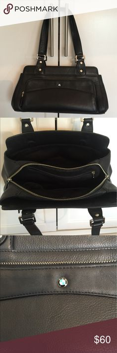 BMW leather handbag Well made leather BMW bag. Great preloved condition. Chrome accents, lots of room, zipper closure and also separate front zippered pocket. BMW Bags Satchels