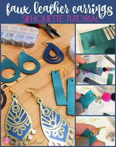DIY Faux Leather Earrings Start to Finish: Silhouette CAMEO Tutorial (Silhouette School) Silhouette Cameo Tutorials, Silhouette Cameo 4, Silhouette School Blog, Silhouette Projects, Silhouette America, Silhouette Studio, Diy Leather Earrings, Leather Jewelry, Gold Earrings