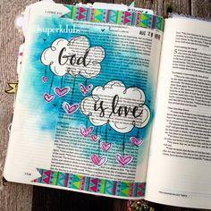 Bible Art Journaling by Kristen Wolbach Scripture Art, Bible Art, Bible Verses, Bible Quotes, Faith Bible, My Bible, Bible Study Journal, Art Journaling, Scripture Journal