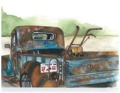 """""""Rust Bucket"""" Opaque Watercolor. I have painted this truck twice, loads of fun. Thanks to Loretta & Tom Phillips for the photo."""