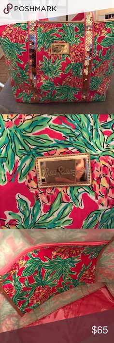 Lilly Pulitzer Spike The Punch Tote Gorgeous 'Spike The Punch' Tote!  Rare!  Pineapple  Print with Sequin Detail!  Minor Scuff on Bottom of Tote, Otherwise Excellent Condition! Don't Miss Out!  Lilly Pulitzer Bags Totes