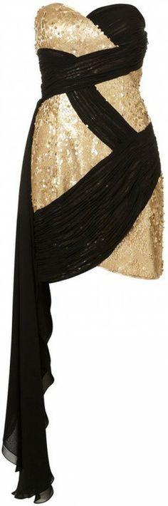 Dore ve siyah pullu elbise