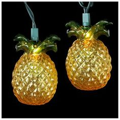 Set of 10 Beach Party Tropical Golden Pineapple Christmas Lights - Green Wire 1 of 1