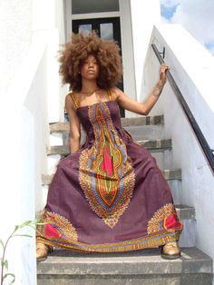 African Dashiki-Print Maxi Dress S/M Brown by dorisanddoris