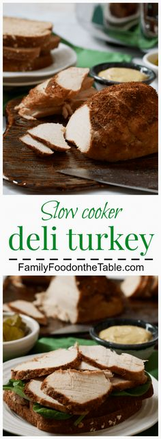Slow cooker deli turkey - an easy, homemade healthy turkey recipe - skip the processed stuff and make it yourself!   FamilyFoodontheTable.com