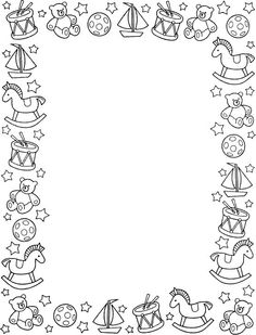 moldura infantil para colorir - Pesquisa Google Colouring Pages, Adult Coloring Pages, Coloring Books, Boarders And Frames, Page Borders, Christmas Stationery, Borders For Paper, Frame Clipart, Binder Covers