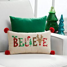 Believe Word Art Pom Pom Christmas Accent Pillow | Kirklands