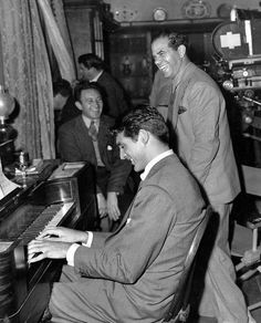 Cary Grant and Frank Capra behind the scenes of the movie 'Arsenic and Old Lace.'  1940's