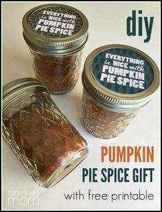 This homemade pumpkin pie spice in a cute mason jar with a printable tag, is an excellent hostess gift, teacher gift, neighbor gift, foodie gift or stocking stuffer this holiday season.