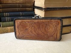 Vtg Tooled Leather Wallet  Western Style by JansVintageStuff, $54.00