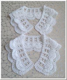 Lovely crochet lace collars, charts available on this page ~ Съемный ажурный воротничок, схема. Crochet Collar Pattern, Col Crochet, Crochet Lace Collar, Crochet Tutu, Gilet Crochet, Crochet Stitches Patterns, Crochet Blouse, Irish Crochet, Crochet Designs